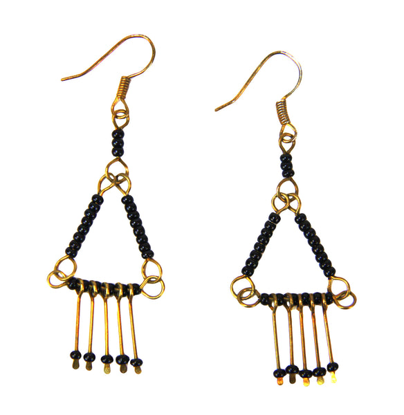 Antiqued Brass Pyramid Earrings - Kenya