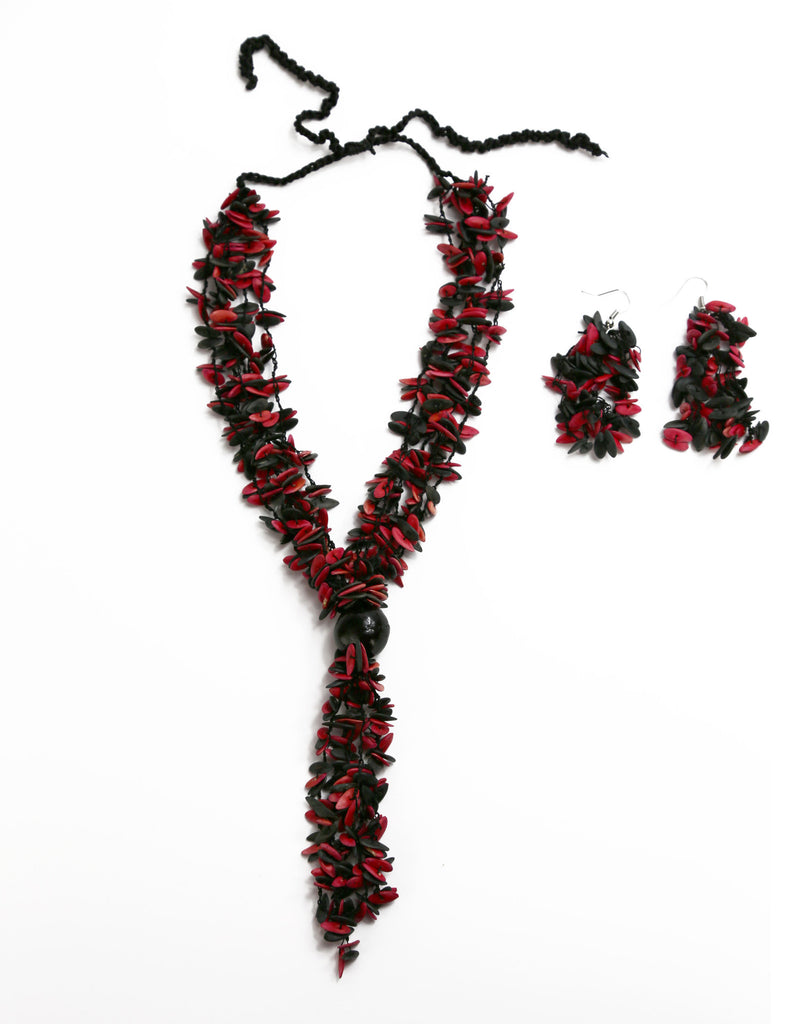 Red and Black Long Melon Seed with Black Accent Bead Necklace and Earring Set - Colombia