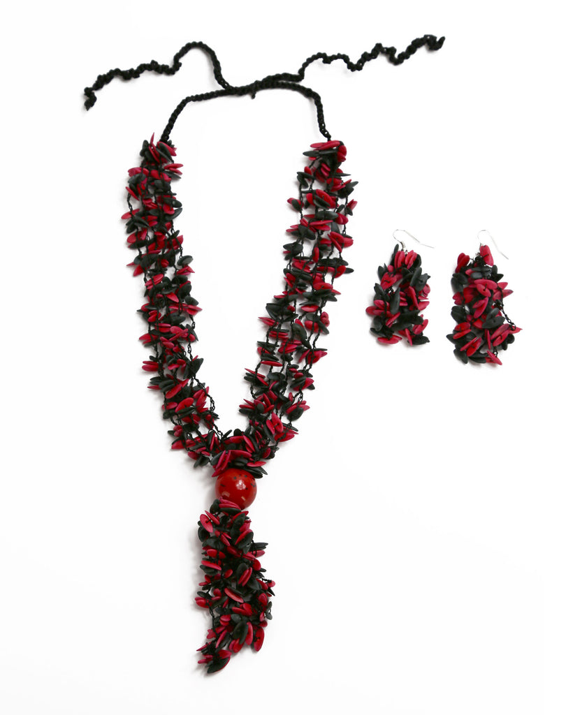 Red and Black Long Melon Seed with Red Accent Bead - Necklace and Earring Set - Colombia