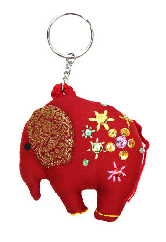 Stuffed Red Elephant Key Chain - India