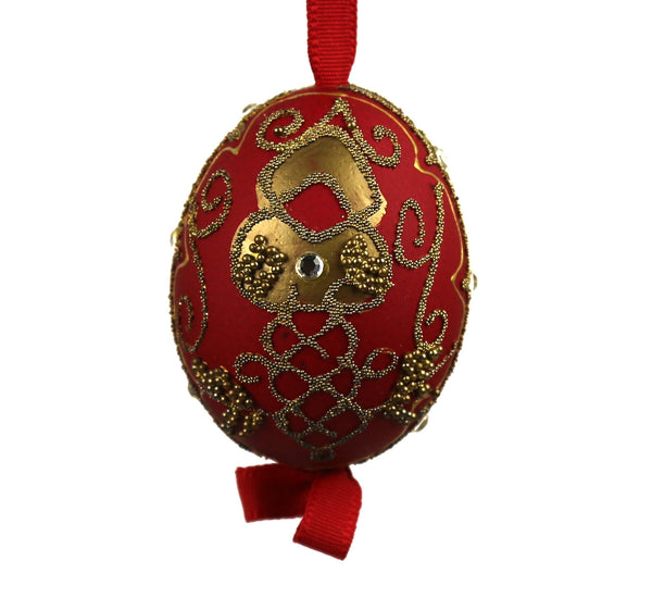 Red and Gold Egg Ornament - Hand Painted - Austria