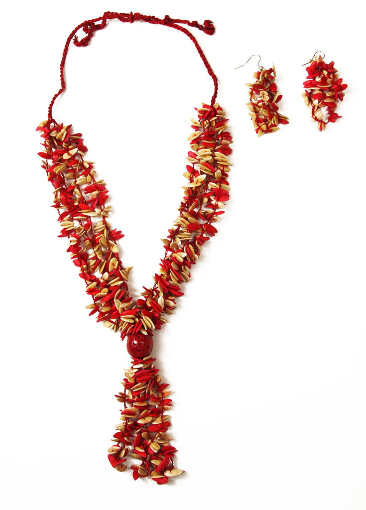Red Long Melon Seed Necklace and Earring Set with Red Accent - Colombia