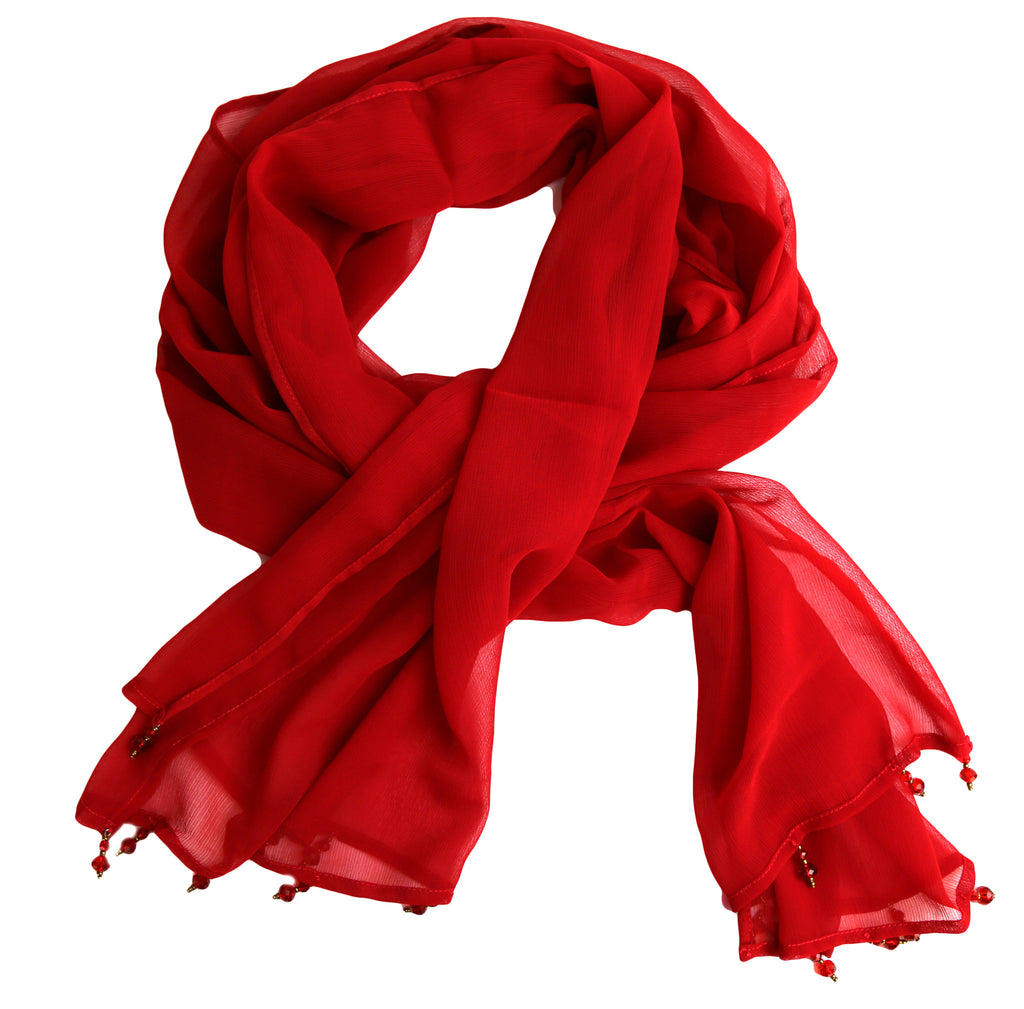 Sheer Red Chiffon Scarf with Red Beads - India