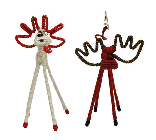 Yarn White and Brown Reindeer Large Picture Clip Set - Colombia