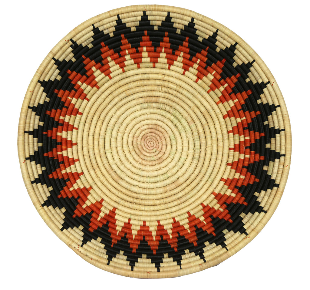 Rwandan Sisal  Round Tabletop Basket - Ivory, Black and Terra Cotta - Rwanda