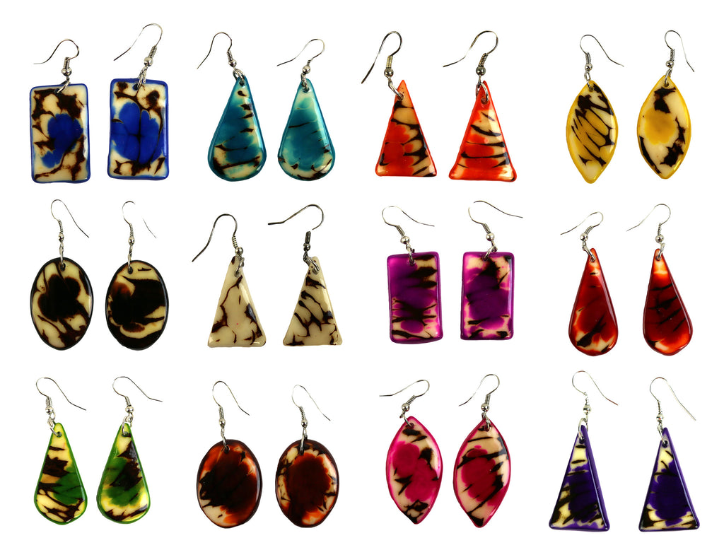 Shapes and Colors Tagua Earring Set of 6 - Colombia