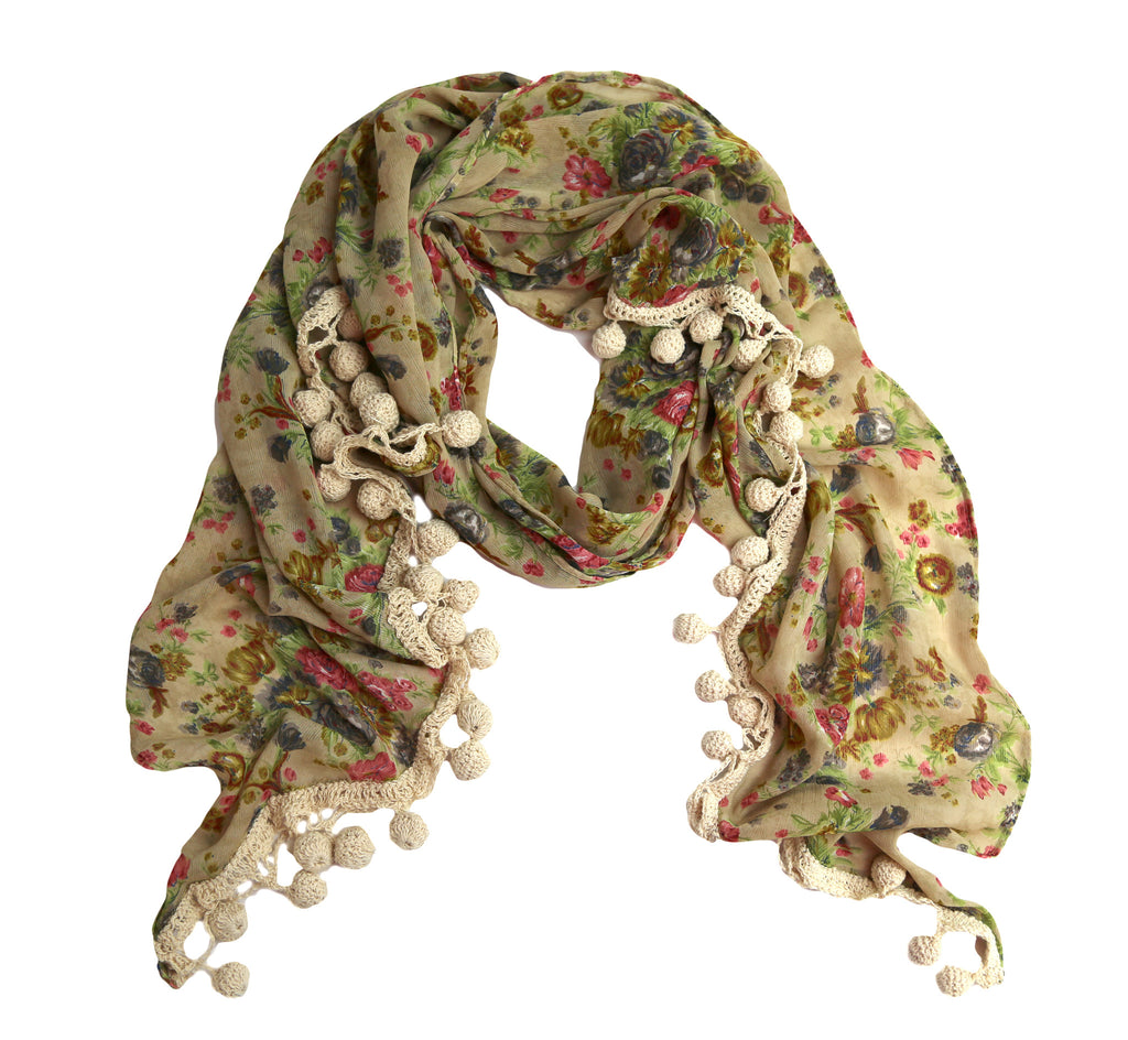 Sheer Chiffon Flower Scarf with Crocheted Tassels - India