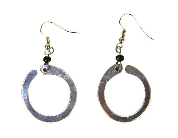 Aluminum Silver Loop Earrings - Kenya