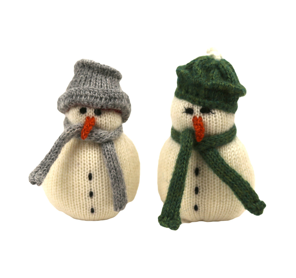 Alpaca Snowman Couple Ornaments -Set of 2 - Peru