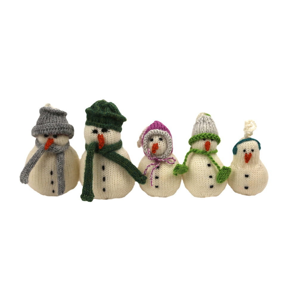 Alpaca Snowman Family Set of 5 Ornaments - Peru