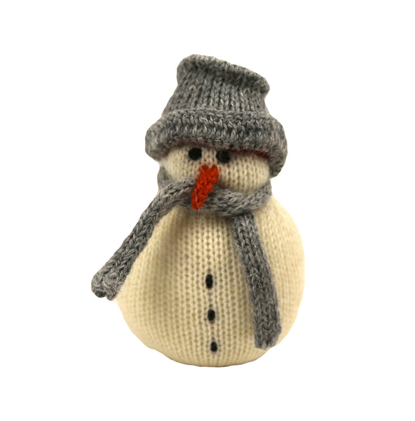 Alpaca Snowman Ornament - Gray Hat and Gray Scarf - Peru