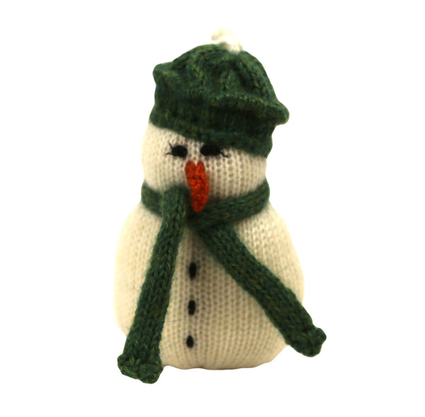 Alpaca Snowman Ornament - Green Hat and Scarf -Peru