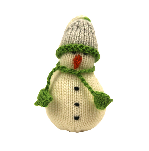 Alpaca Snowman Ornament - Gray Hat and Green Mitten Scarf - Peru