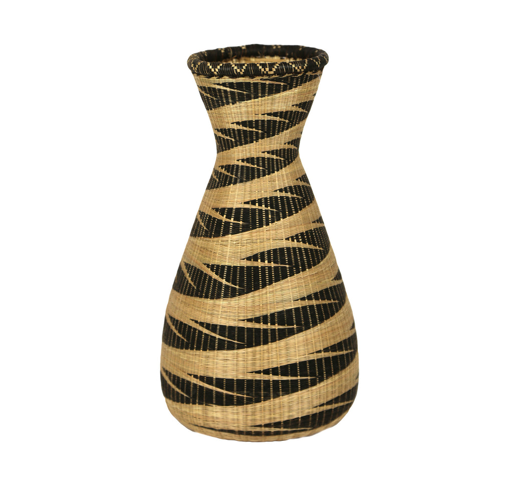 Rwandan Sweetgrass Vase Narrow - Shades of Black - Rwanda