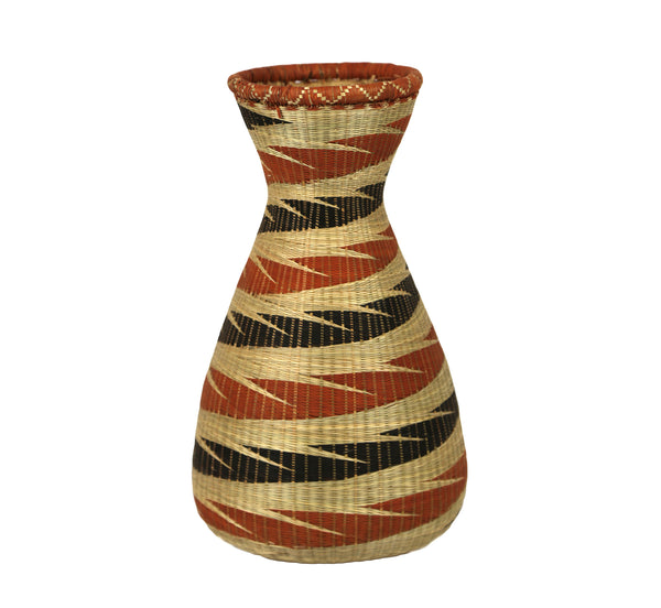 Rwandan Sweetgrass Vase Narrow - Black and Terra Cotta - Rwanda
