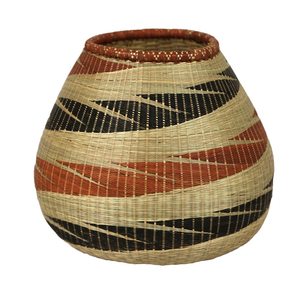 Rwandan Sweetgrass Vase Wide - Shades of Brown, Black and Terra Cotta - Rwanda