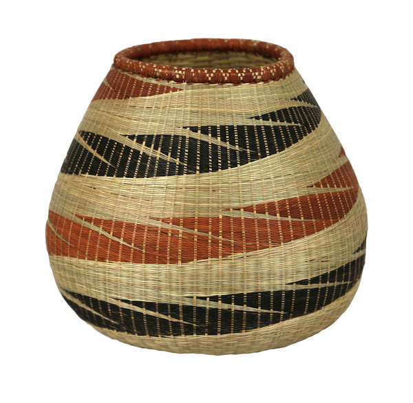 Rwandan Sweetgrass Vase Wide -  Brown & Black  - Rwanda