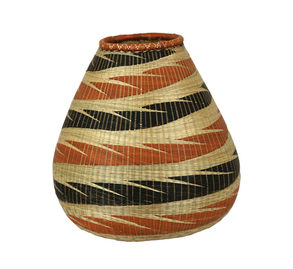 Rwandan Sweetgrass Vase Tall - Shades of Brown, Black and Terracotta - Rwanda
