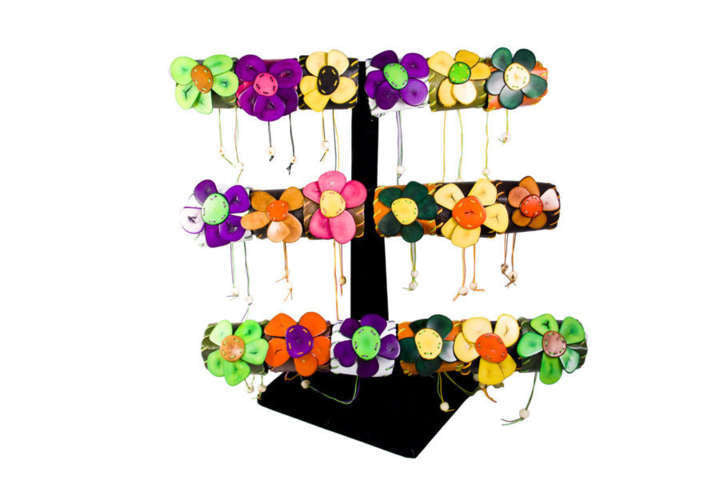 Tagua Flower and Leather Cuff - Colombia