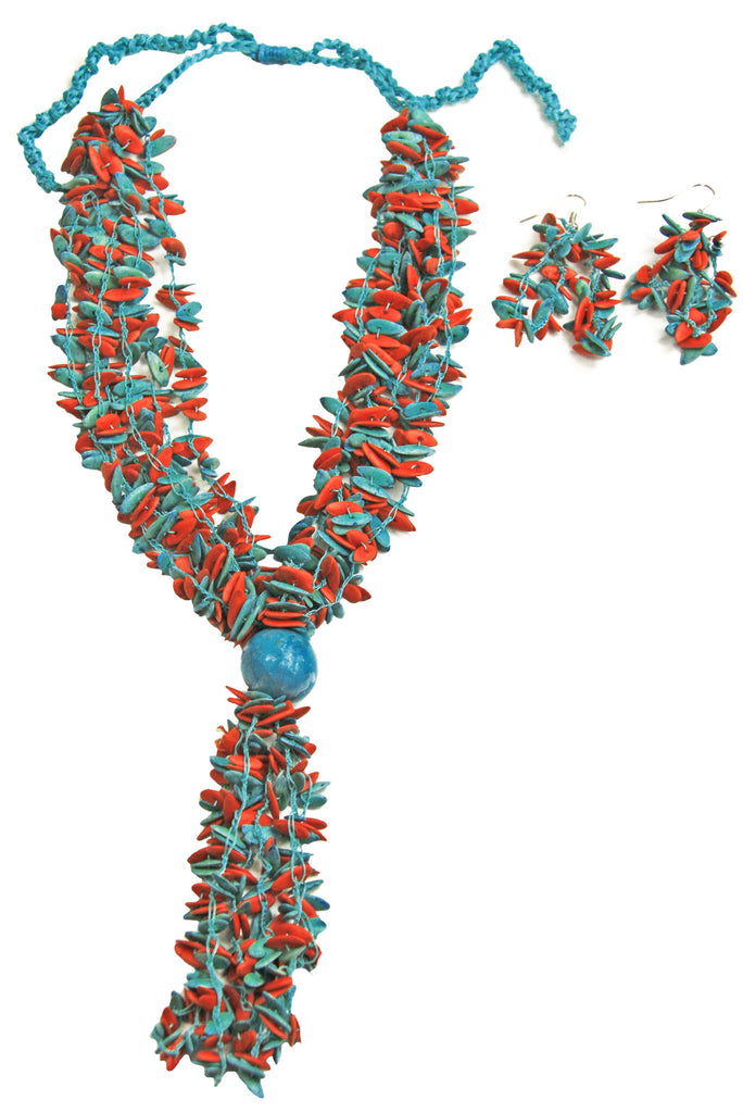 Teal Long Melon Seed Necklace and Earring Set / Teal Accent Bead - Colombia