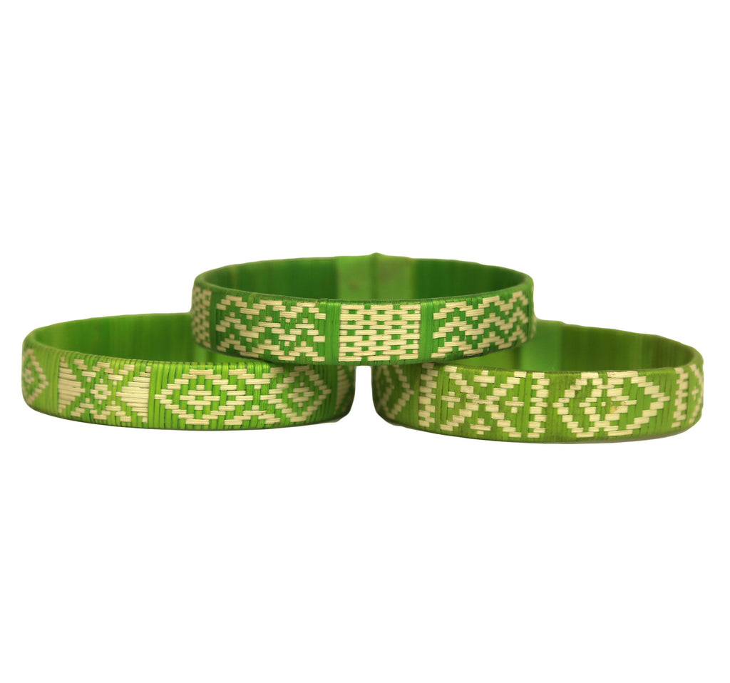 Third Time is the Charm - Cana Flecha Cuff Bracelets - Set of 3 - Green Tones - Colombia