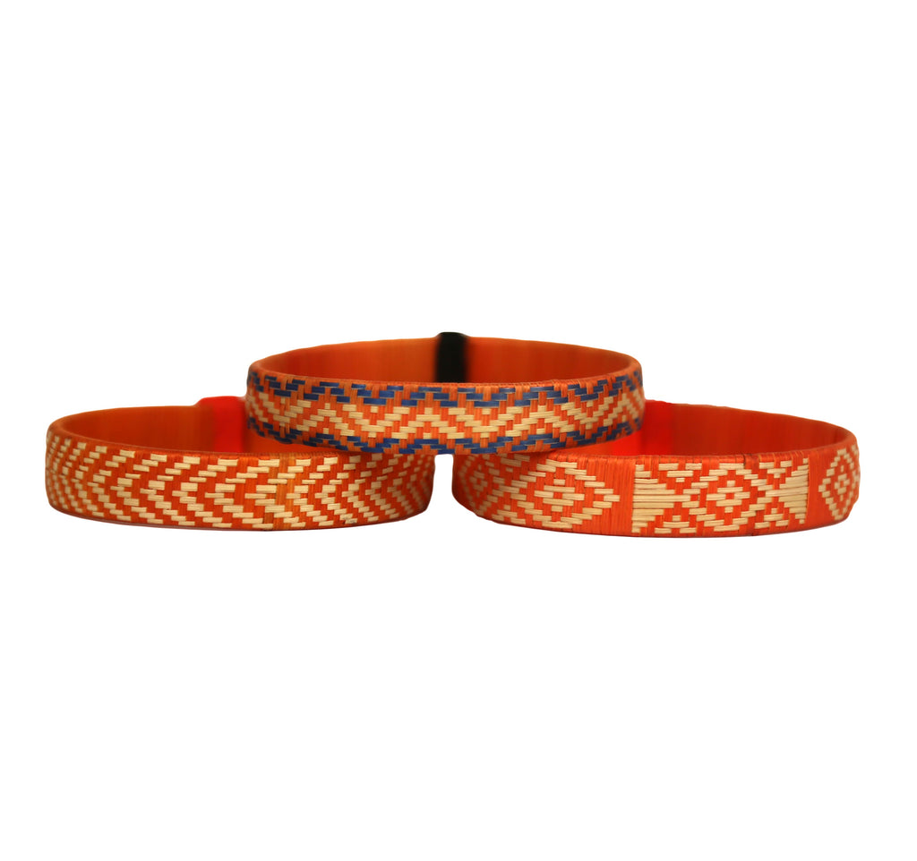 Third Time is the Charm - Cana Flecha Cuff Bracelets - Set of 3 - Orange Tones - Colombia