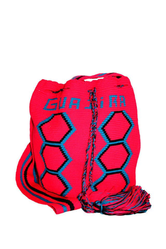 Wayuu Mochila Bag Pink Blue Black Pattern - Colombia