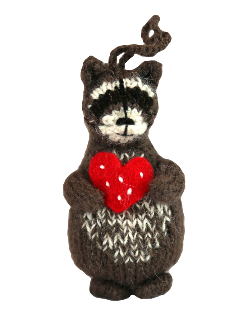 Alpaca Woodland Raccoon Ornament - Peru