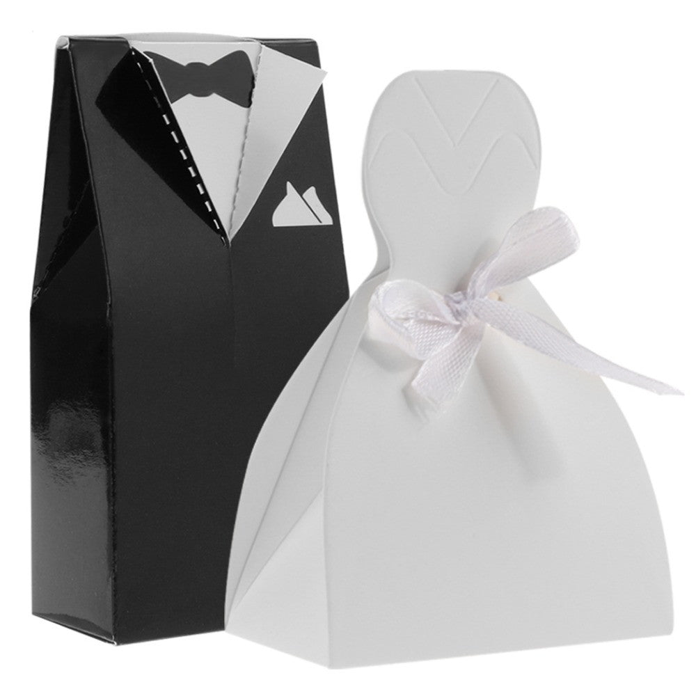 White Wedding Gown and Black Suit Candy Favor  Box
