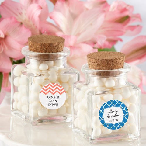 """ Petite Treat "" Square Glass Favor Jar with Cork Stopper"