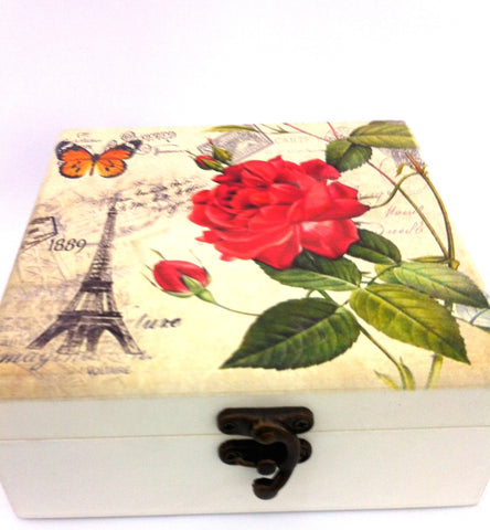 Cream Shabby Chic Wooden Vintage Rose Butterfly Mirror Jewellery Keepsake Storage Box