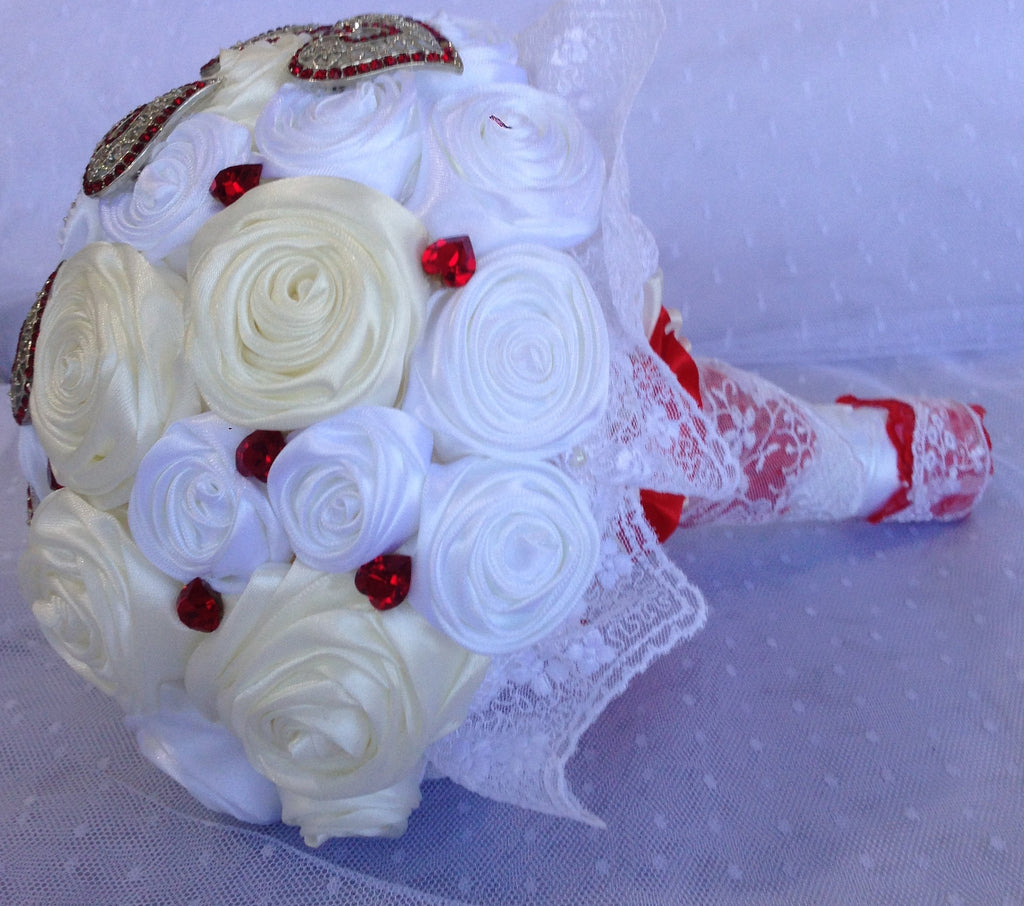 White and Cream Bridal Bouquet Handmade
