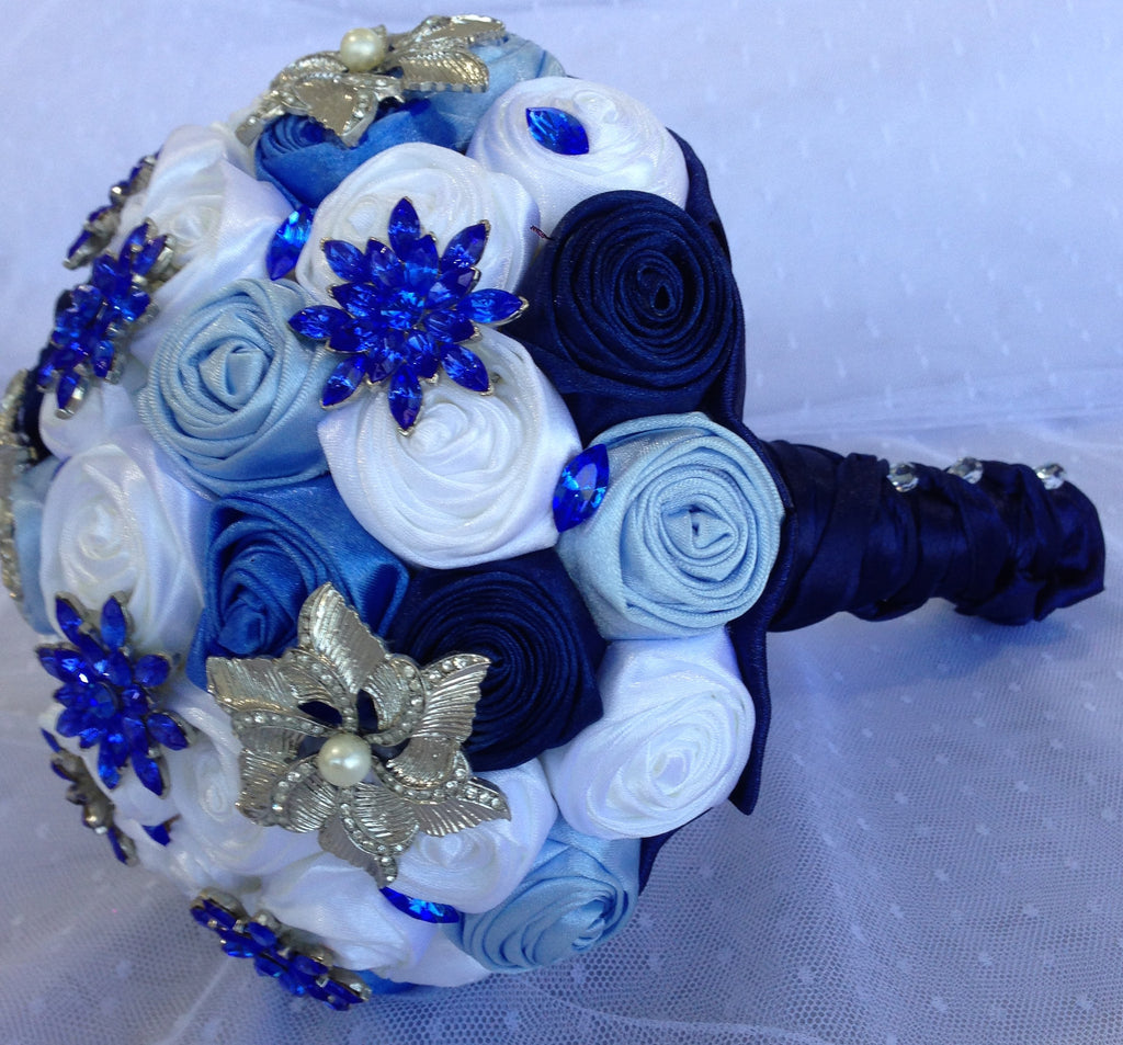 Bridal Bouquet White and Blue Handmade