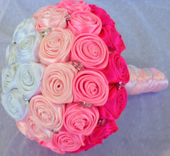 Bridal Bouquet Hot Pink, White and Pink Handmade