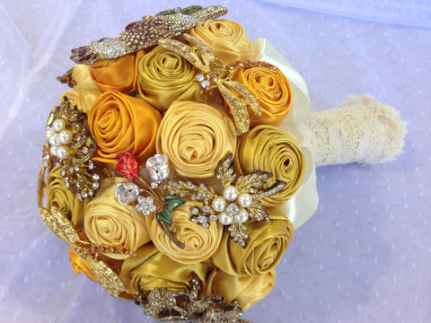 Gold Brooch Bouquet Handmade