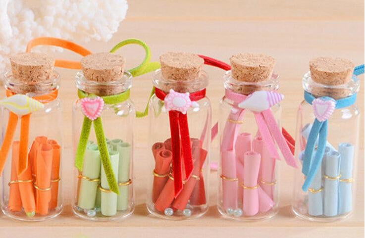 Mini Message Bottle Cork Holder Glass Jar