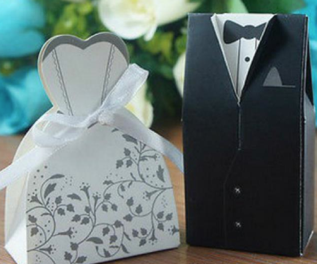 Groom & Bride Black New Marriage Charm Favour Candy Boxes