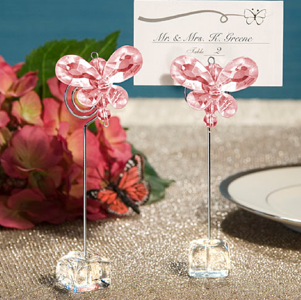 Pink Silver Crystal Butterfly Place Card Holders