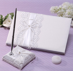 Classic Wedding Guest Book And Pen Set With Lace Sign In Book