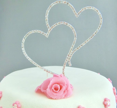 Silver Diamante Double Heart Monogram Cake Topper