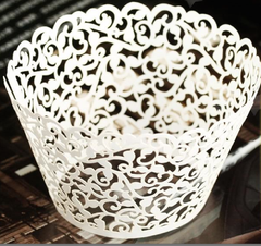 White Vine Filigree Cupcake Wrapper Laser Cut
