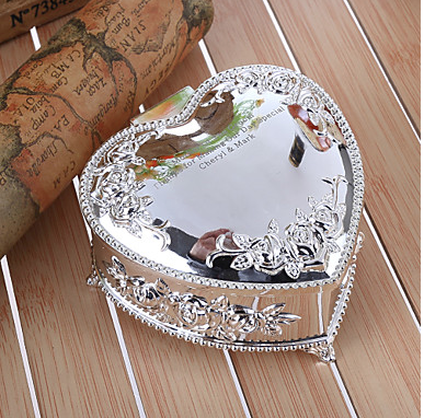 Embossed Floral Heart Shaped Zinc Alloy Jewelry Box