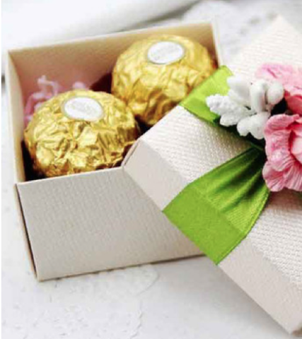 Cream Color Box With Green Ribbon Pink Flowers
