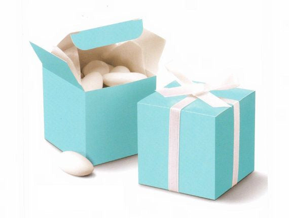 Tiffany Blue Color Square Favors Box