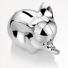 Silver Plated Elephant Money Bank