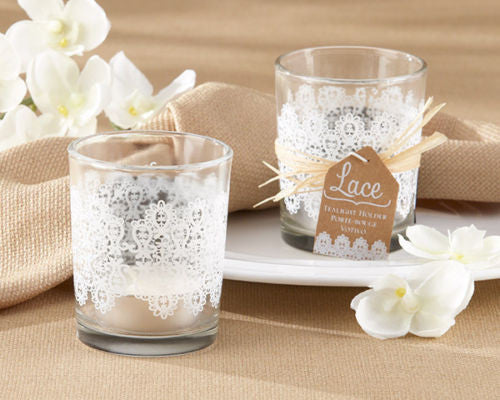 White Lace Tealight Candle Holders Favors