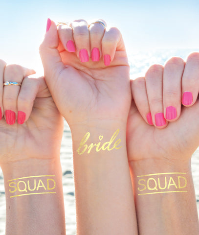 'Squad' Bachelorette Tattoos Set of 12