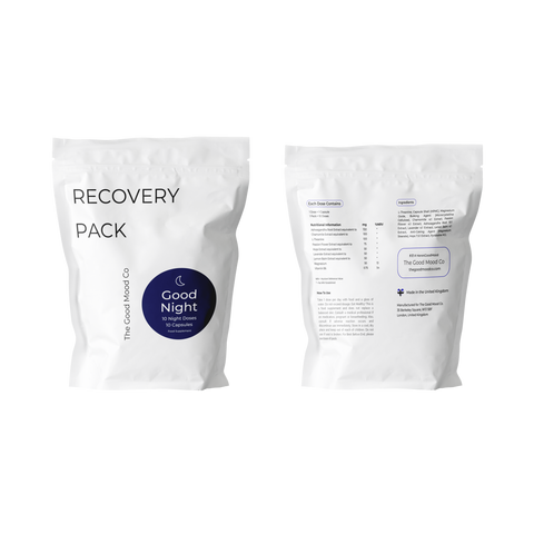 It supports the muscles, blood pressure and energy levels, besides nerve function.Magnesium promotes potassium and calcium in the bloodstream. The Good night recovery pack Body and mind soothing agent that promotes quality sleep and overall relaxation. Every capsule is filled with anti-oxidants & nutrients that normalizes the function of the  nervous system.