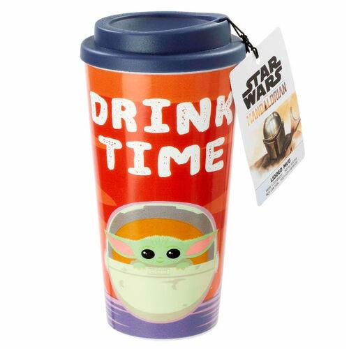 Star Wars Mandalorian: The Child: Plastic Lidded Mug: Drink Time