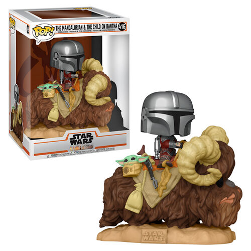 POP Deluxe: Mandalorian- Mandalorian on Bantha with The Child